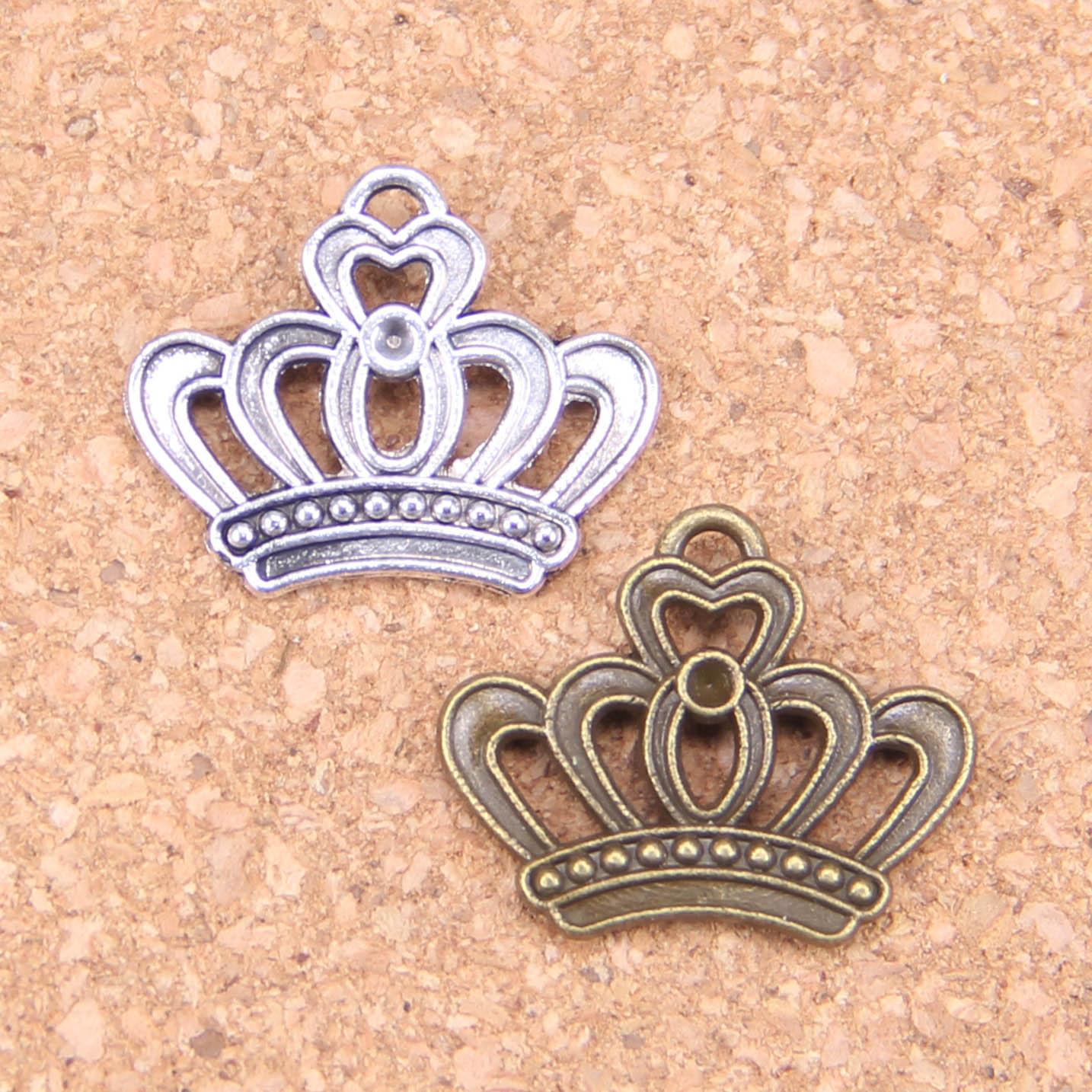 14pcs Encantos imperial coroa real 22x18mm Antique Pingentes, Vintage Jóias De Prata Tibetano, DIY para colar pulseira