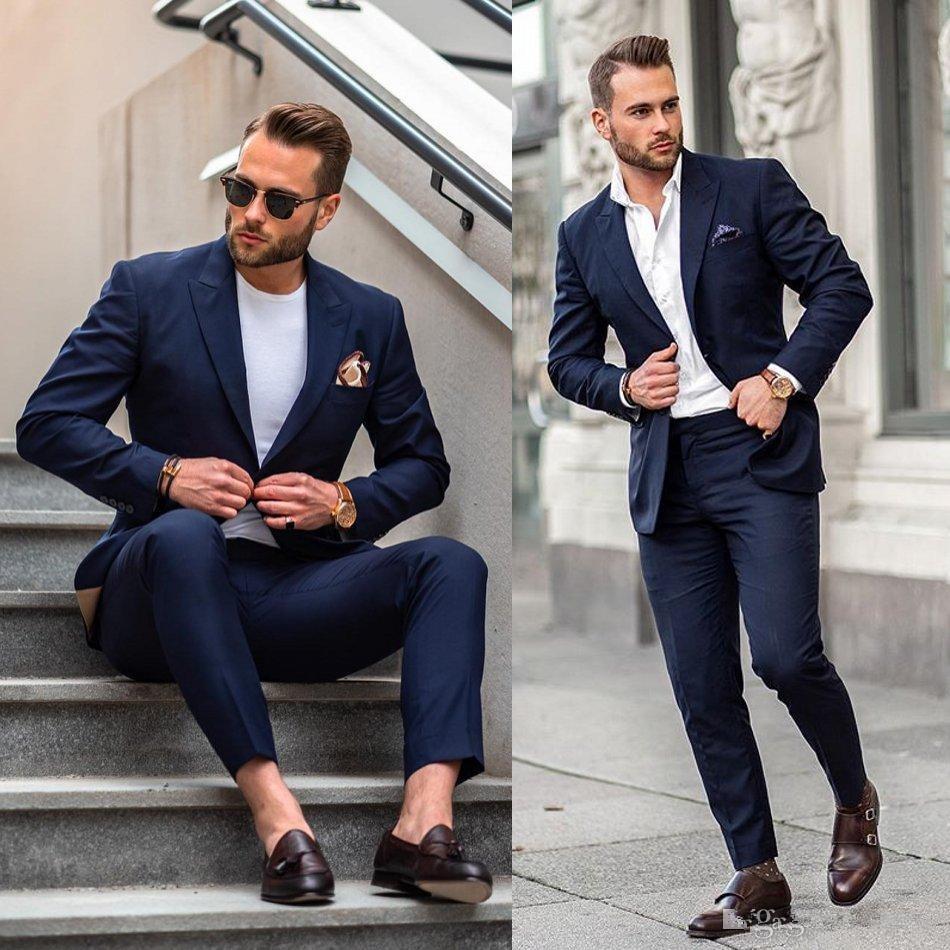 Trajes para fiesta de graduación de hombre azul oscuro de un botón de terciopelo con solapa entallada esmoquin de celebridad para boda para hombres chaquetas de dos piezas (chaqueta + pantalón)