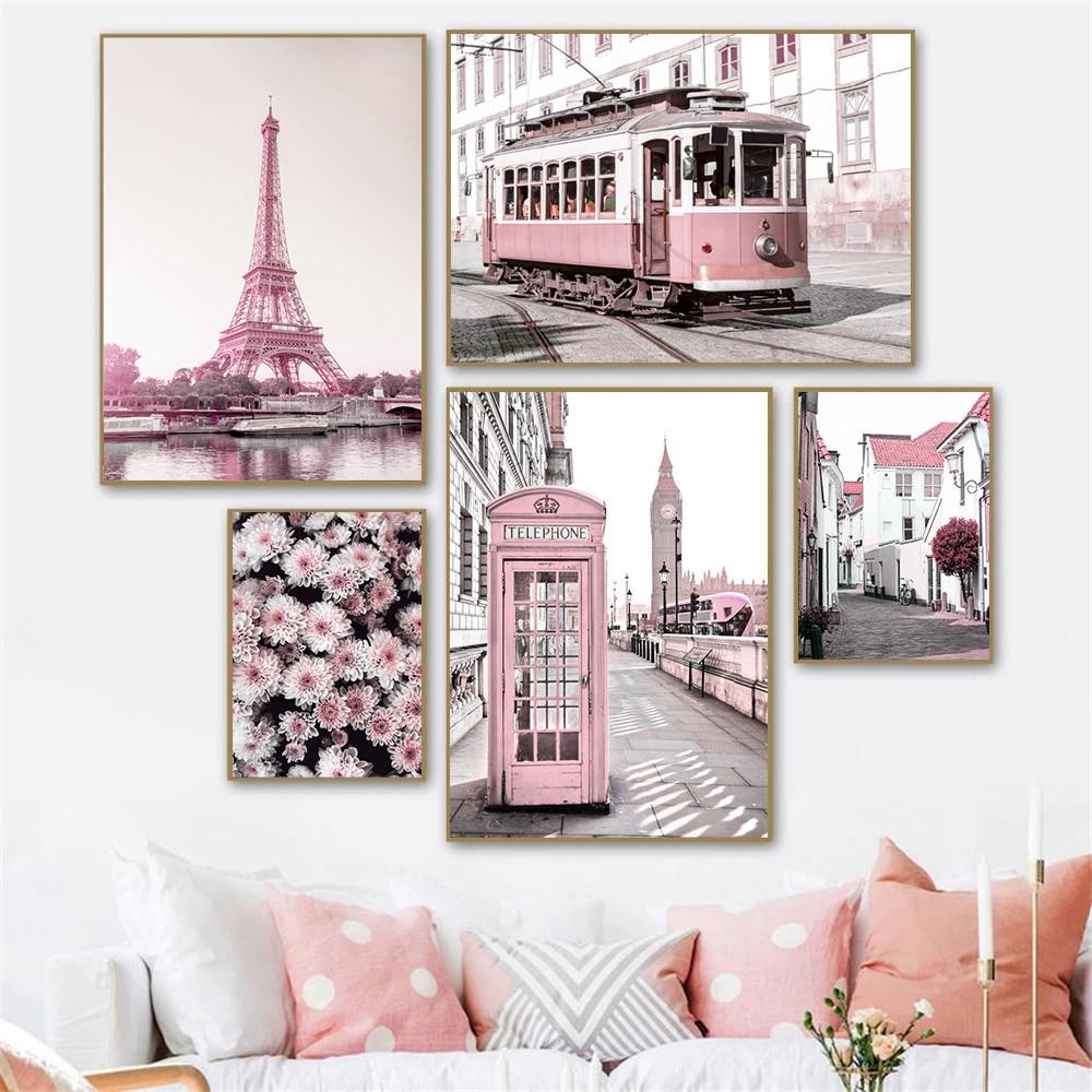 Настенный постер с розовыми цветами, автобусом, башней, Художественная печать, городское здание, пейзаж, Картина на холсте, настенные картин...