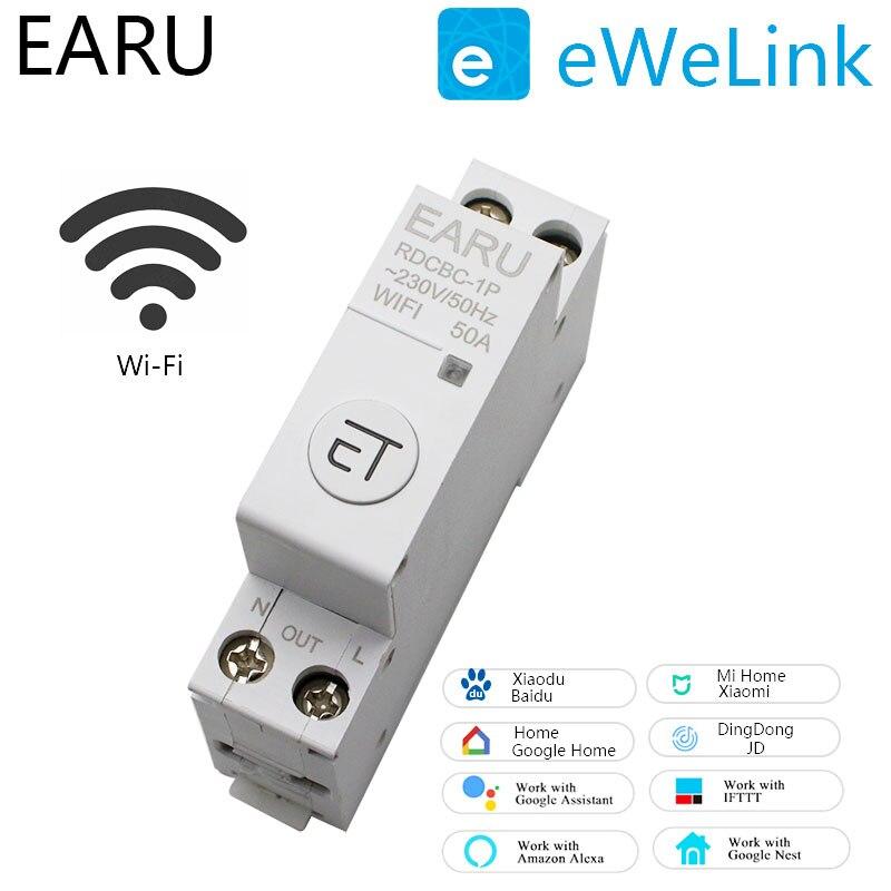 قاطع دائرة سكة حديد WIFI Din 1P ، مؤقت ذكي ، مفتاح مرحل ، جهاز تحكم عن بعد ، تطبيق EWeLink ، منزل ذكي ، متوافق مع Alexa و Google