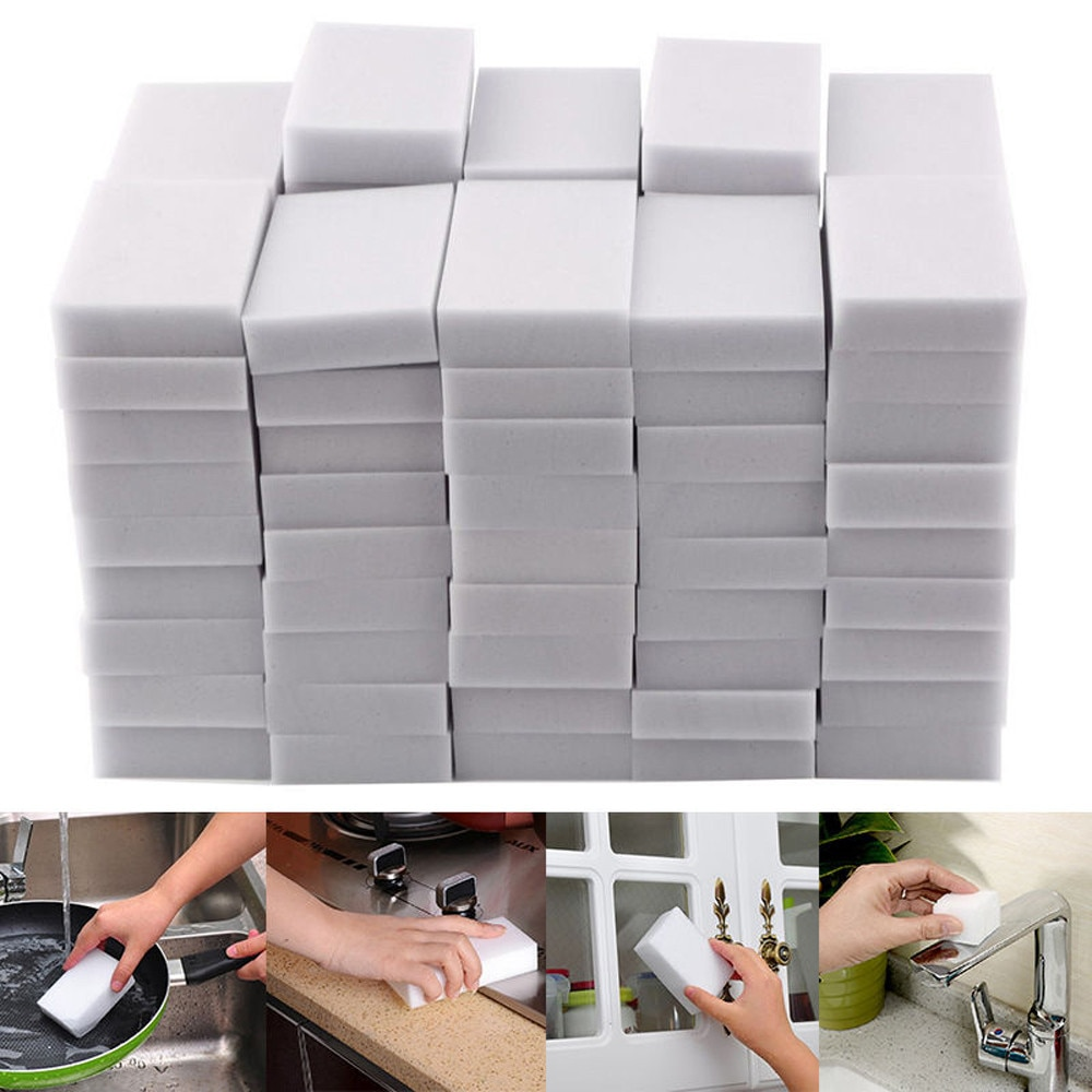 100pcs 100*60*20mm White Melamine Sponge Magic Sponge Eraser For Kitchen Office Bathroom Clean Acces