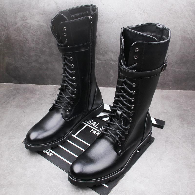 ERRFC-أحذية شتوية بطول منتصف الساق للرجال ، أحذية رياضية على الطراز البريطاني ، نعل مصمم لامع ، قطيفة ، دافئة ، 44