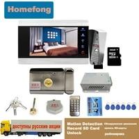 homefong video door phone door lock electric 12v unlock video intercom doorbell with camera system motion detection sd card
