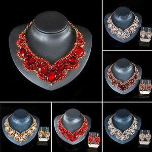 Statement Crystal Jewelry Set Rhinestone Necklace Earrings African Bridal Wedding Party Gifts Chunky Choker Nigerian Gifts Women