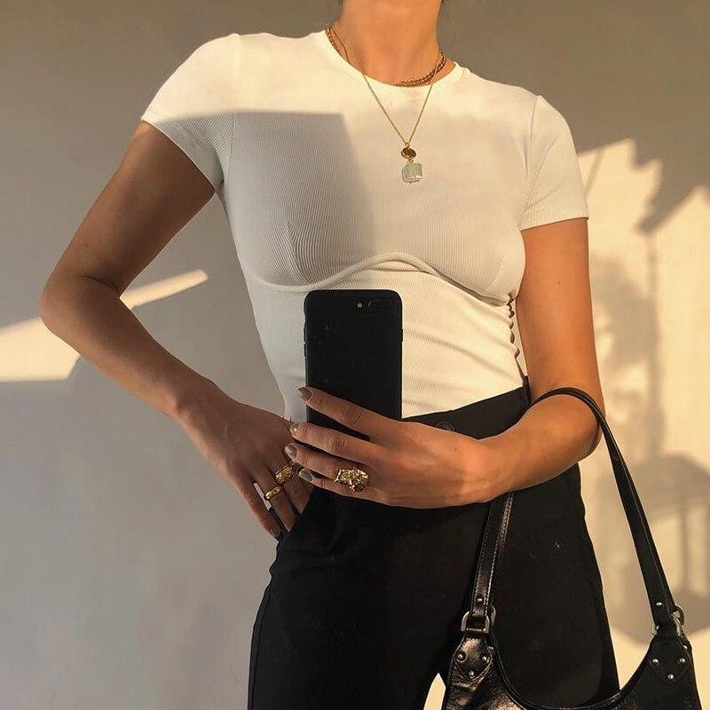 Casual básico branco colheita topo t camisa elegante de manga curta mulher tshirt alta rua algodão tshirts feminino verão vintage streetwear