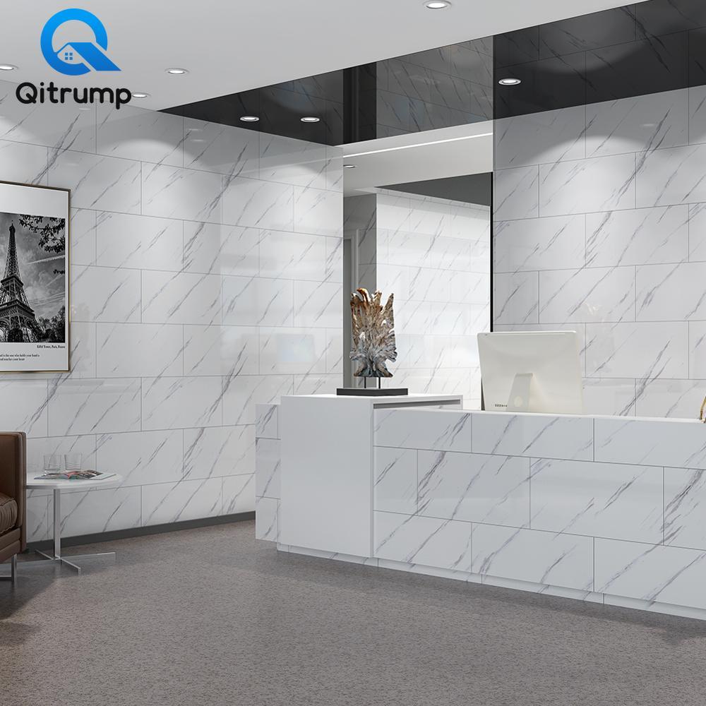 Autocollants muraux modernes en PVC   Autocollants de sol épais imperméable, en marbre, pour la cuisine et la salle de bains, papiers peints décoratifs pour la maison