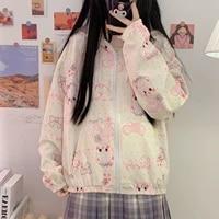 y2k kawaii cartoon print oversized zip ups hoodie top harajuku loose long sleeve sweatshirt korean fashion autumn clothes women