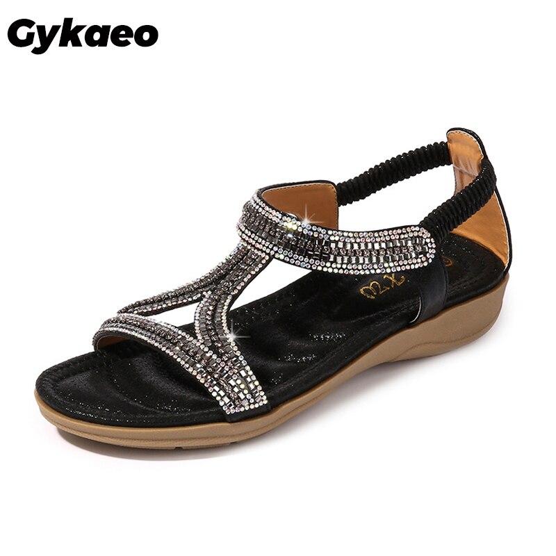 Gykaeo Damen Sommer Schuhe Europäischen und Amerikanischen Stil Höhlte Out Bling Frauen Sandalen Strass Weichen Boden Hang Frauen Schuhe