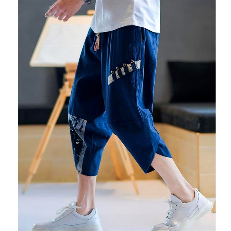 2021 Cotton Linen Harem Pants for Men Chinese Style Plus Size Summer Baggy Outdoor Leisure Mens Streetwear Printed Loose Pants