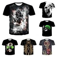 2021 summer top streetwear harajuku oversized t shirts shirt tshirt men o neck skulls 3d punk style short horror tshirts tops