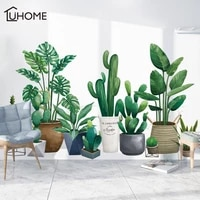 3d green plant wall sticker for living room self adhesive wallpaper nordic style diy art decals bedroom wall decoration