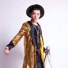 Nieuw Merk Mens Zanger Star Show Trenchcoats Nachtclub Gold Bling Pailletten Lange Kostuum Jassen Glanzende Pailletten Lange Jassen Maat xl