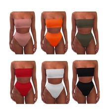 2020 femmes Bandeau taille haute Bandeau Bikini ensemble maillots de bain plage maillot de bain Push Up maillots de bain maillot de bain