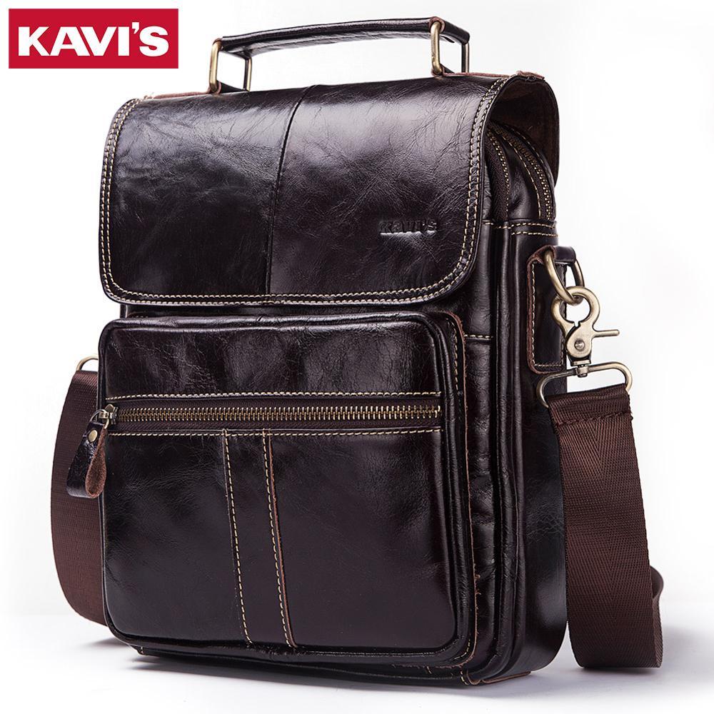 KAVIS جلد طبيعي Crossbody الرجال حقيبة ساعي رجل صغير رفرف حقائب كتف الموضة الرجال السفر حقائب جديدة Hot البيع