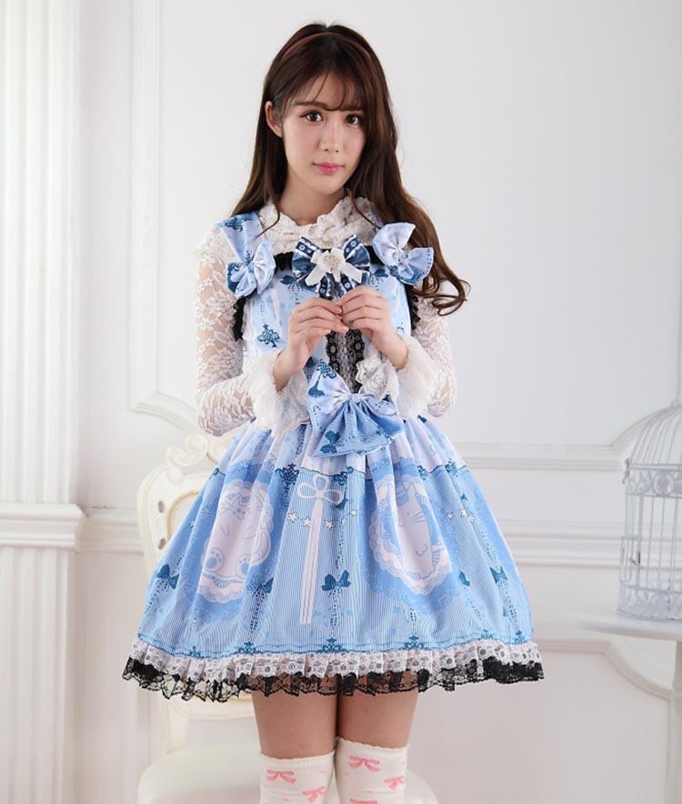 Princesse douce lolita robe japonaise douce soeur douce princesse Lori dentelle nœud imprimé bleu chat sangle avec robe Lolita GZWY204
