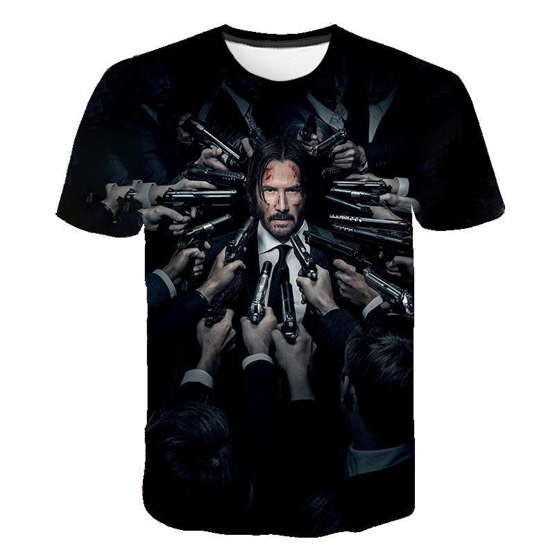 2020 летняя футболка с 3D принтом Джон уик для мужчин и женщин, футболка с коротким рукавом Keanu Reeves, крутая футболка с фильмом, Мужская крутая ул...