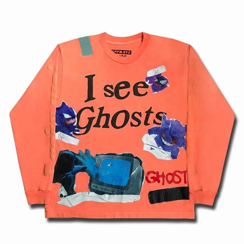 11 crianças ver fantasmas graffiti fantasma remendo cpfm laranja kanye oeste hoodie com capuz