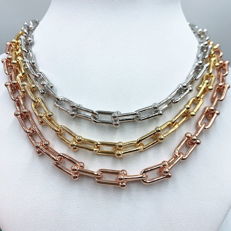 2021 new hot-selling U-shaped jewelry, 925 sterling silver thick necklace, original 1:1 with logo, holiday gift for women co