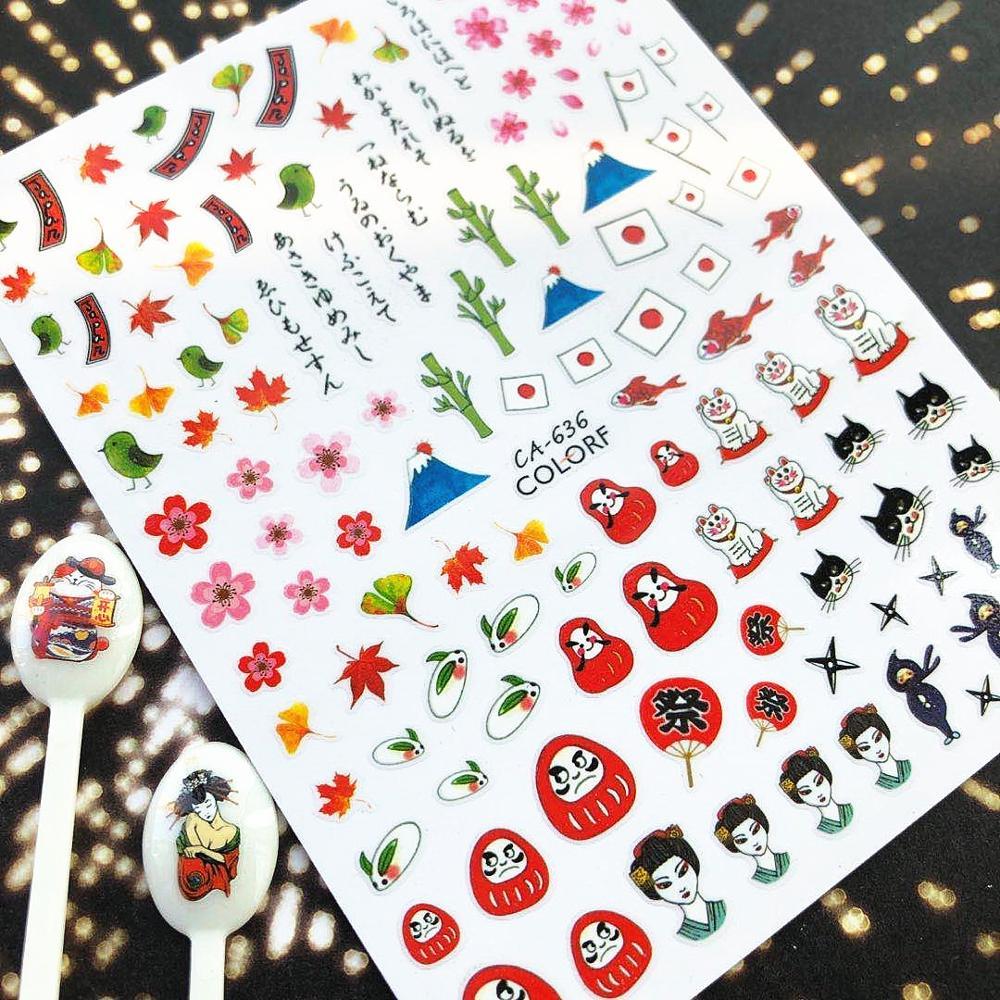 CA-636-639-642 ukiyo-e CA-253-254-150-306, pegatinas 3d para decoración de uñas de belleza Retro, plantilla de calcomanías, herramienta para uñas, decoraciones diy