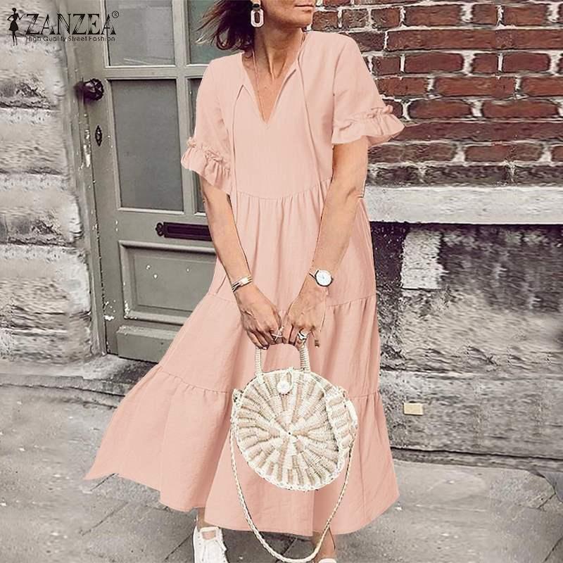 Elegancka, z falbanami sukienka ZANZEA 2020 damska letnia sukienka z dekoltem w kształcie litery V falbany Vestidos kobieta z krótkim rękawem kobieta szata Plus Size 5XL