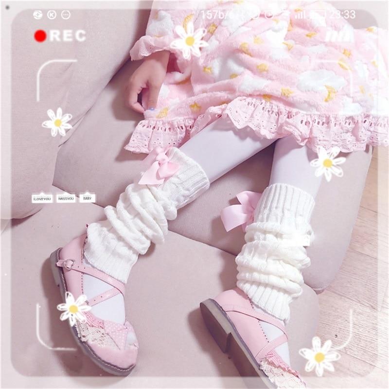 اليابانية لوليتا الحلو فتاة الساق دفئا الكرة محبوك القدم غطاء المرأة الساق دفئا الجوارب كومة الجوارب الفتيات القدم الاحترار غطاء