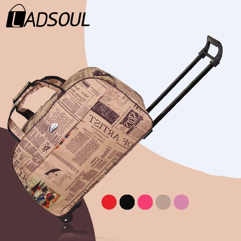 Большая Дорожная сумка на колесиках LADSOUL, портативная Дорожная сумка на колесиках, модная водонепроницаемая, удобная для переноски