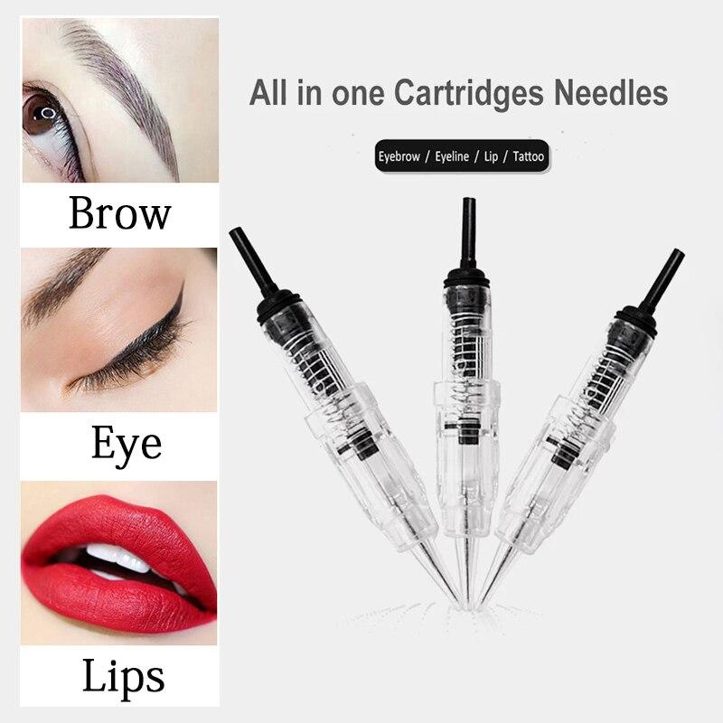 100 unids/lote agujas desechables cartuchos para tatuaje 1RL para maquillaje permanente 600D-G Microblading microaguja Agulha Easy Click