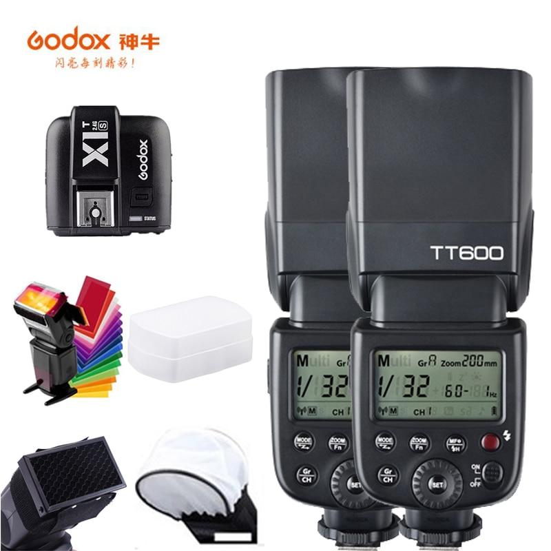 Godox TT600 كاميرا فلاش Speedlite 2.4G اللاسلكية ماستر الرقيق X1T-C الزناد HSS TTL لكانون 5D علامة II III IV 80D 700D كاميرا