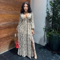 european and american popular casual snake v neck front split sleeve knitted one piece dress fashion sexy dress