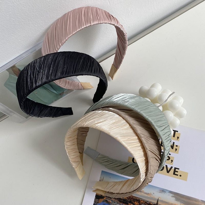 Winding Braided Wide Brim Headband Fashion Hair Accessories Women Solid Color Fabric Folds Wash Face Hairband Cute Hair Hoop New