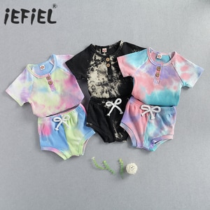 6M-3T Toddler Baby Tie Dye Printing Ribbed Outfits Two-pieces Set, Infant Boy Girl O-neck Short Sleeve Shirt + Elastic Pants Set