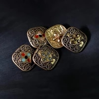 10pcs 25mm big buttons for clothing square vintage buttons with rhinestone sewing supplies and accessories metal button for coat