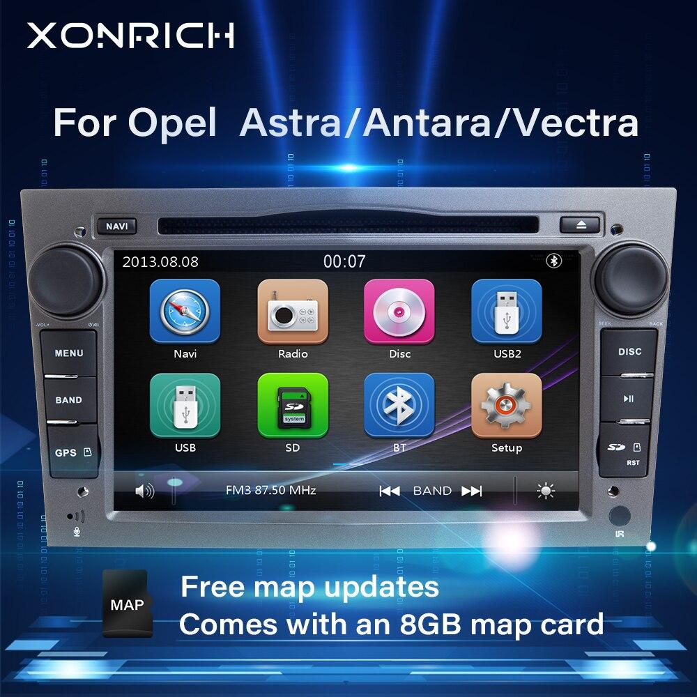 Xonrich 2 din rádio do carro reprodutor de multimídia para opel vectra c zafira b vivaro astra h gj corsa b c d meriva bantara dvd navegação