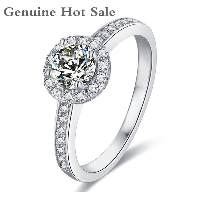 Anillos Moissanite de Plata de Ley 925 0.5ct 5,0mm corte redondo D Color laboratorio diamante joyería fina anillo para fiesta de compromiso para mujer regalo