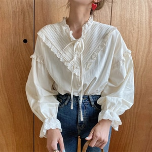 2021 New Arrival Hollow Out Vintage Elegant Tops Women Shirt Solid Long Sleeve Korean Style Loose Blouses Blusas