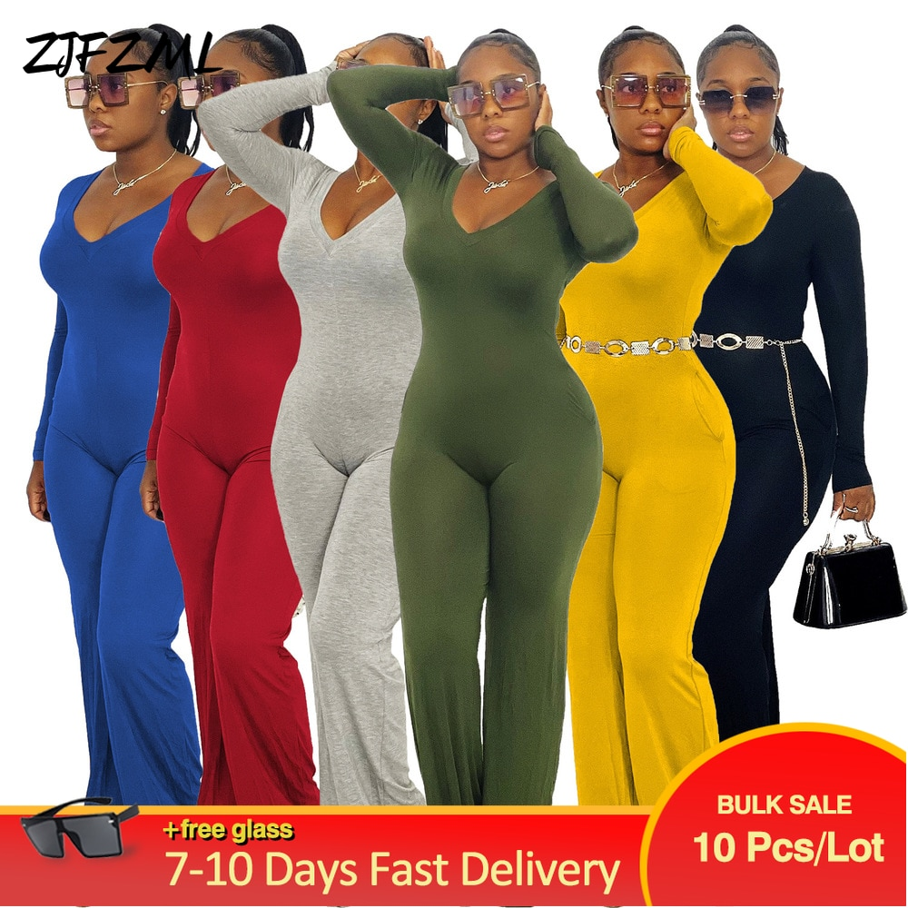 Bulk Lots Wholesale Items Simple Casual One Piece Overalls for Women Full Sleeve V-neck Long Jumpsuit Fall Mujer Flare Bodysuits