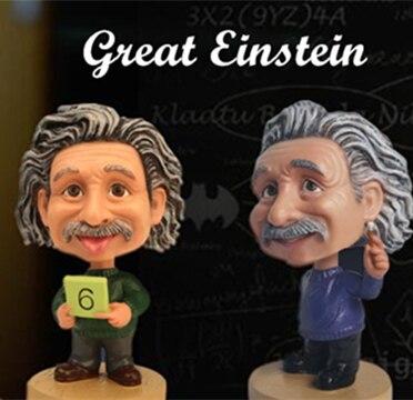 Einstein divertido Anime figura de acción muñeca juguete de broma Bobble cabeza de resina artes hecho a mano coche modelo coleccionable decoración chico Idol