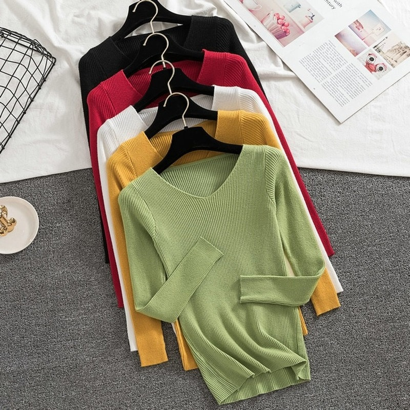 Autumn Winter 2020 New Knitted Bottoming Shirt V-neck Pullover Slim Long Sleeve Sweater Women's Top