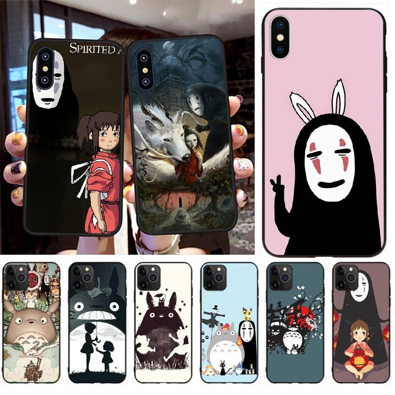 PENGHUWAN Totoro Chihiro ghibli miyazaki anime funda para teléfono para iPhone 11 pro XS MAX 8 7 6 6S Plus X 5S SE XR caso