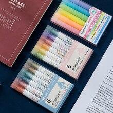 6 pz/set Fluorescente penna Set Morandi 6 Colori Fornitori di Accessori Per Ufficio Scuola Cancelleria Presentato Da Kevin & sasa Artigianato