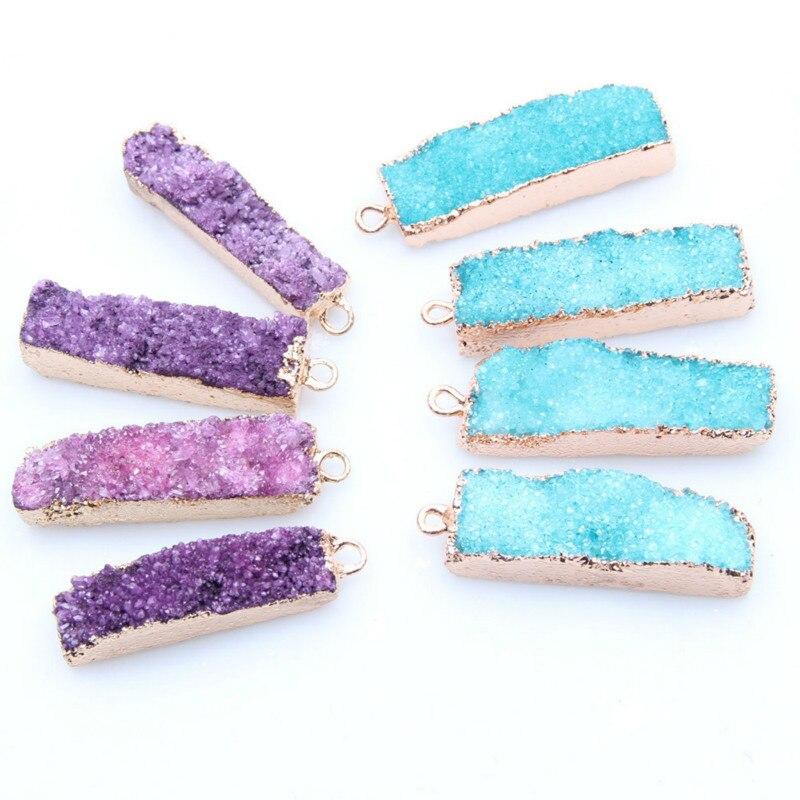 1 unidad de colgantes de piedra Natural rosa púrpura azul drusa rectángulo dorado placa de cuarzo Irregular geoda colgante con drusa para collar