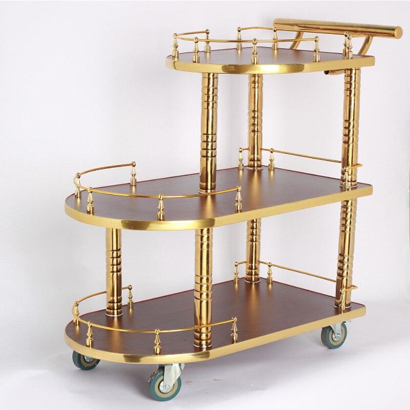 عربة طعام من التيتانيوم بثلاث مستويات ، عربة فاخرة من التيتانيوم للفنادق والحلوى والشاي والسيارات والكعك