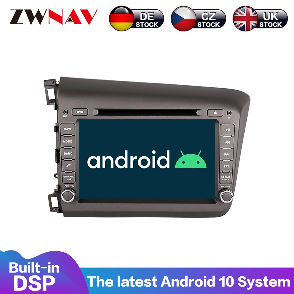 Reproductor Multimedia de Radio para coche Honda Civic 2012-2015, pantalla estéreo con Android 10,0 DSP, pantalla IPS de 7 pulgadas, Audio, GPS, Unidad Principal Navi