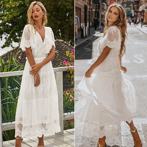 Hollow Out White Dress Sexy Women Long Lace Dress Cross Semi-Sheer Plunge V-Neck Short Sleeve Lace Maxi Dress