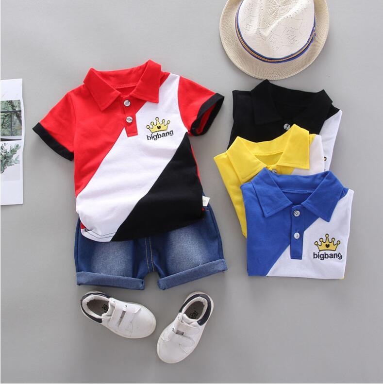Комплекты летней одежды BibiCola для маленьких мальчиков, хлопковая Футболка для новорожденных, топ + шорты, комплект из 2 предметов, спортивный костюм, комплект одежды для детей ясельного возраста