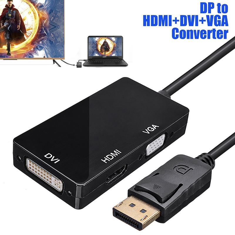 DP к HDMI DVI VGA конвертер 3 в 1 DP Дисплей порт конвертер видео адаптер для ПК ноутбук проектор HDTV