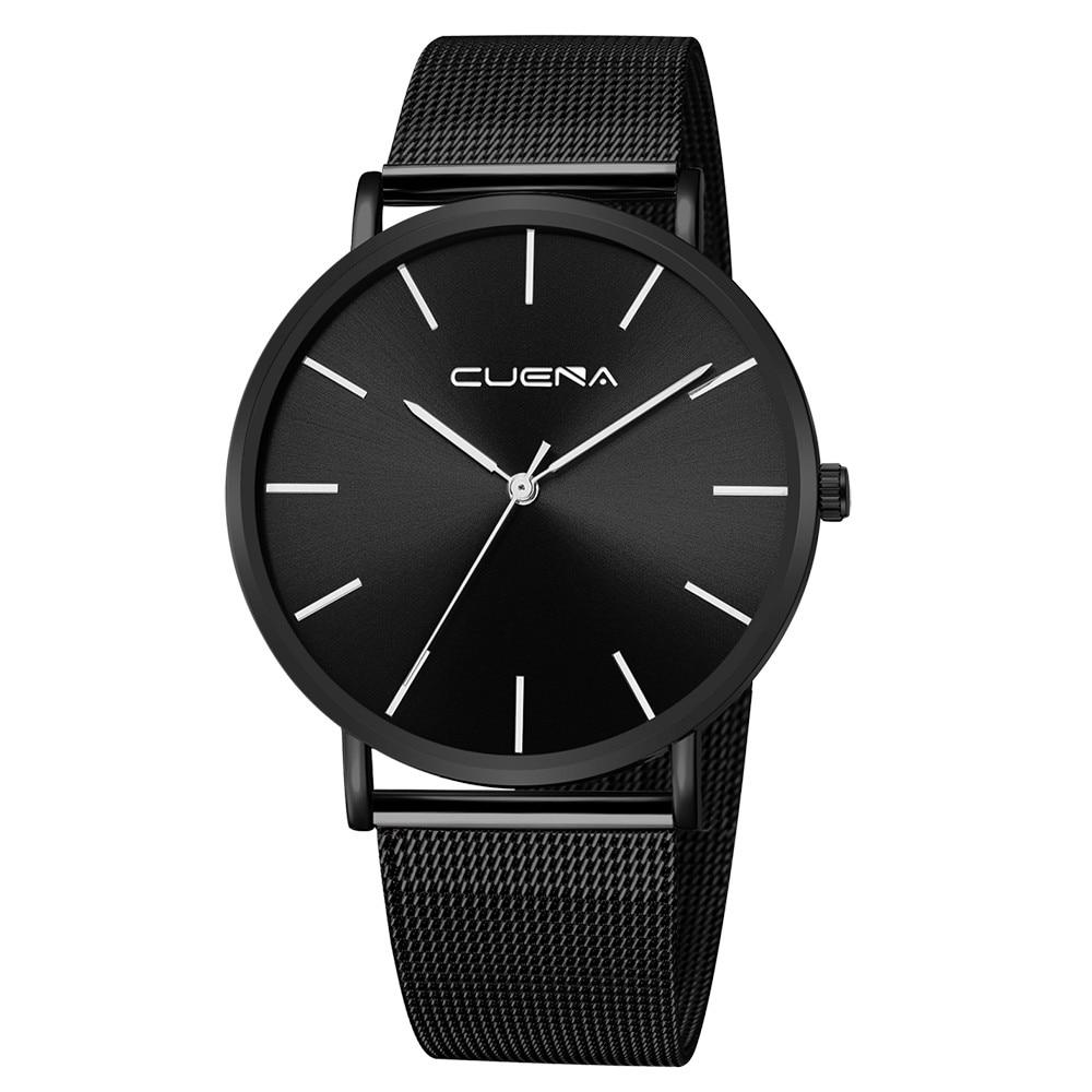 Reloj de lujo CUENA reloj de pulsera de cuarzo de acero inoxidable ultrafino de malla para hombre reloj de pulsera para hombre reloj masculino envío gratis