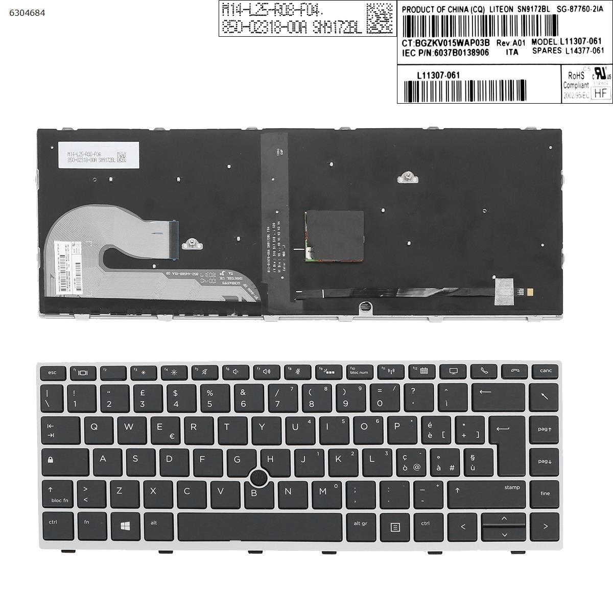 الايطالية تخطيط استبدال جديد لوحة مفاتيح إتش بي EliteBook 840 G5 846 G5 745 G5 المحمول لوحة مفاتيح بإطار فضي مع الخلفية ومؤشر