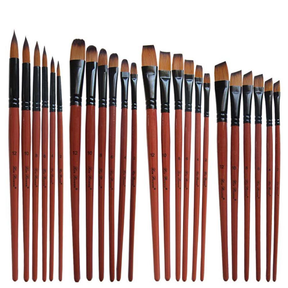 6 Pcs/set Nylon Hair Oil Painting Brushes Acrylic Watercolor Painting Paint Brush Art Supplies