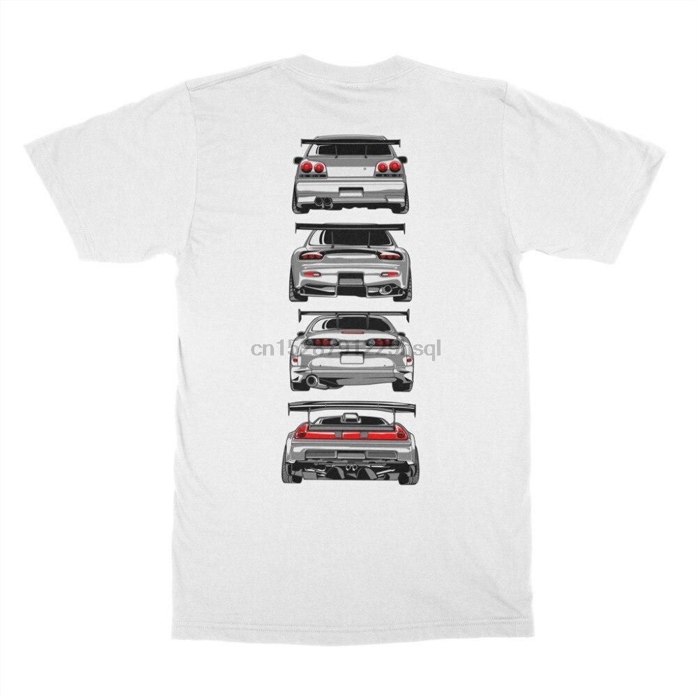 Moda venda quente japonês clássico lenda carro 90 jdm r34 gtr skyline rx7 nsx 350z s2000 tshirt t camisa